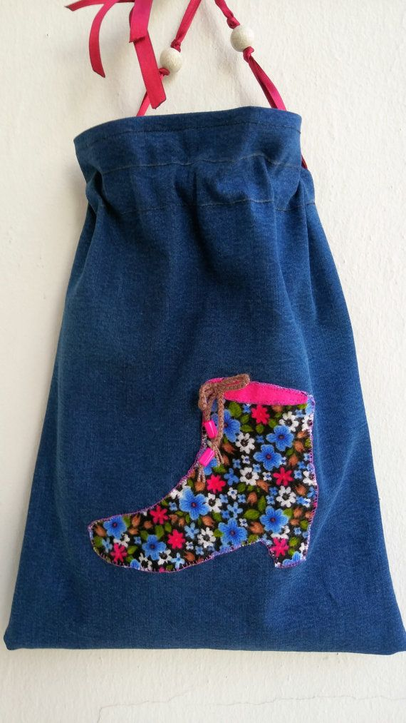 Handmade decorated lined denim shoe bag 345 x 265 cm by KirkeCraft