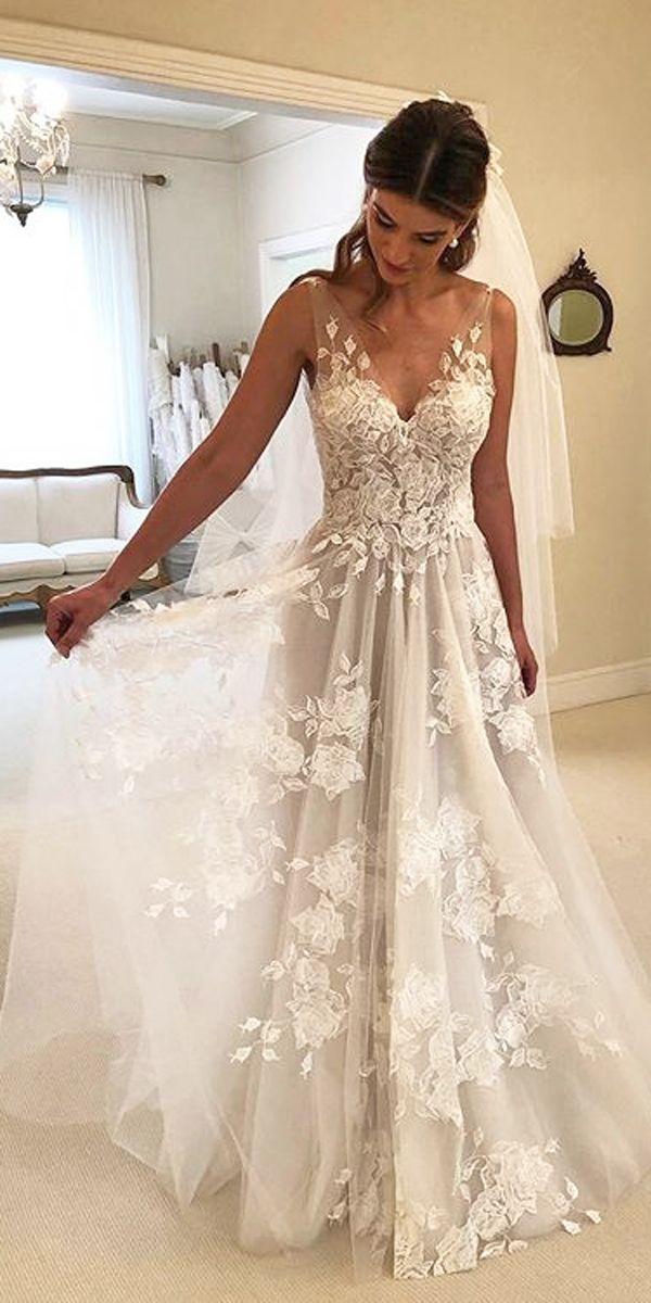 36 Pretty Floral Wedding Dresses For Brides Wedding Forward Floor Length Wedding Dress Bridal Dresses Wedding Dresses