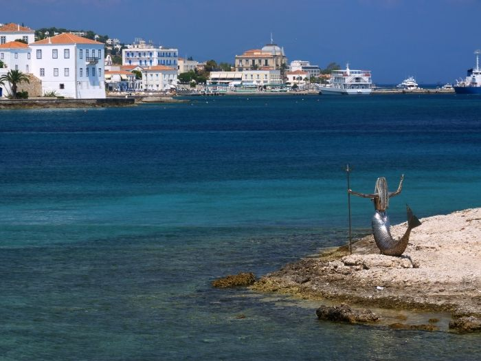 Spetses town and mermaid