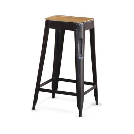 Wood Topped Industrial Stool Black