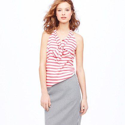 Silk bow cami in stripe