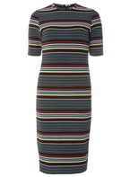 Womens Black And White Stripe Bodycon Dress- Black