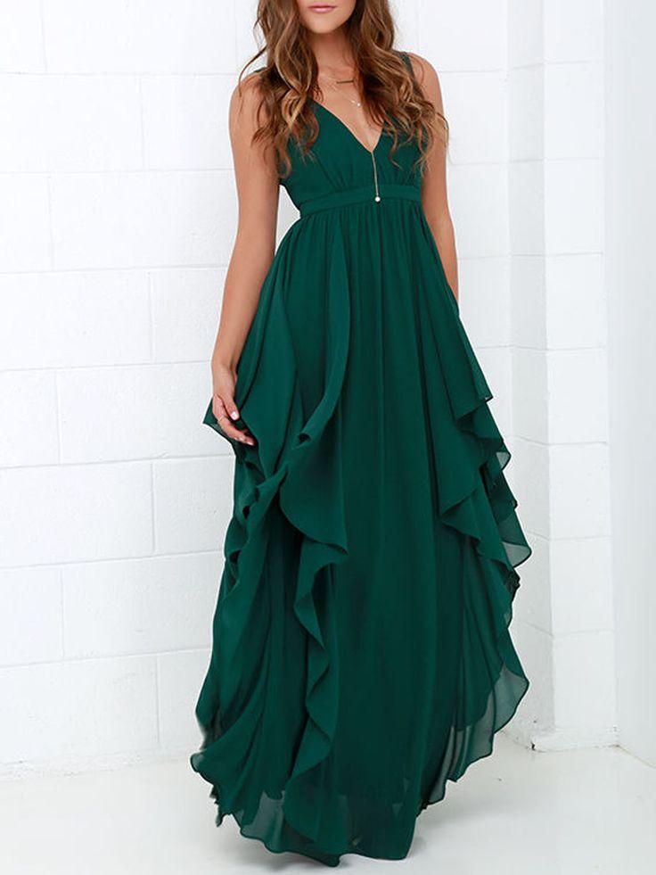 Dark Green V Neck Ruffle Layer Maxi Dress