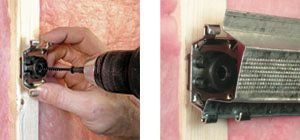 Pliteq GenieClip™ RST is an easy install process.  The furring channel is simply snapped into the GenieClip™ RST and the Gypsum Wallboard (GWB) can be immediately installed. Left image:  Only one screw required to attach metal clip to wood or metal wall studs or floor joists. Right image: Engage standard 25 gauge  drywall furring channel into either claw, then squeeze channel to engage the claw