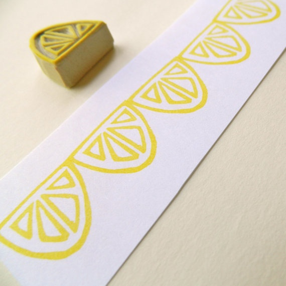 Lemon / Lime Slice - Hand Carved Rubber Stamp. $7.00, via Etsy.