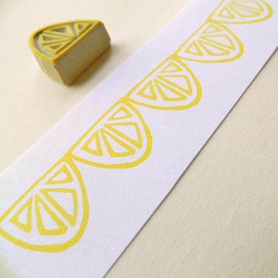 Lemon / Lime Slice - Hand Carved Rubber Stamp. $7.00, via Etsy.