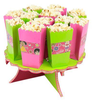 Despachador de bolsas de palomitas / fiestas infantiles / rosa y verde/ botana para fiestas / barra de dulces