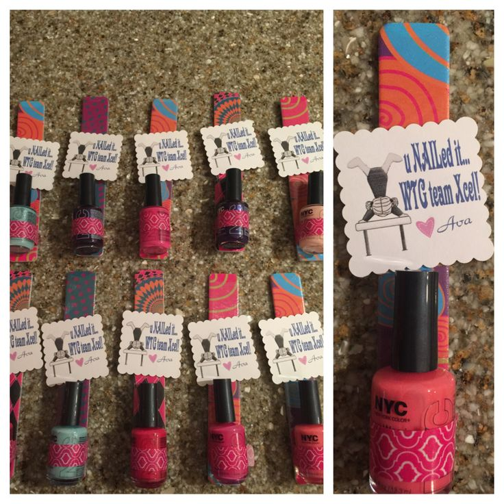 Gymnastic Meet Favor Gift: Nail polish + nail file + washi tape + label = adorable favor