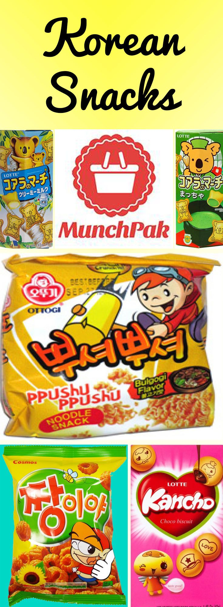 Explore new flavors from Korea with a Munchpak subscription box. Korean snacks, Korean snack box, Korean snack boxes, Korean candy boxes, Korean subscription box Ppushu Ppushu, Lotte Koala Milk Cookie King, Koala's March Matcha Green Tea Cookies, Lotte Kancho, Cosmos Zhang Snack