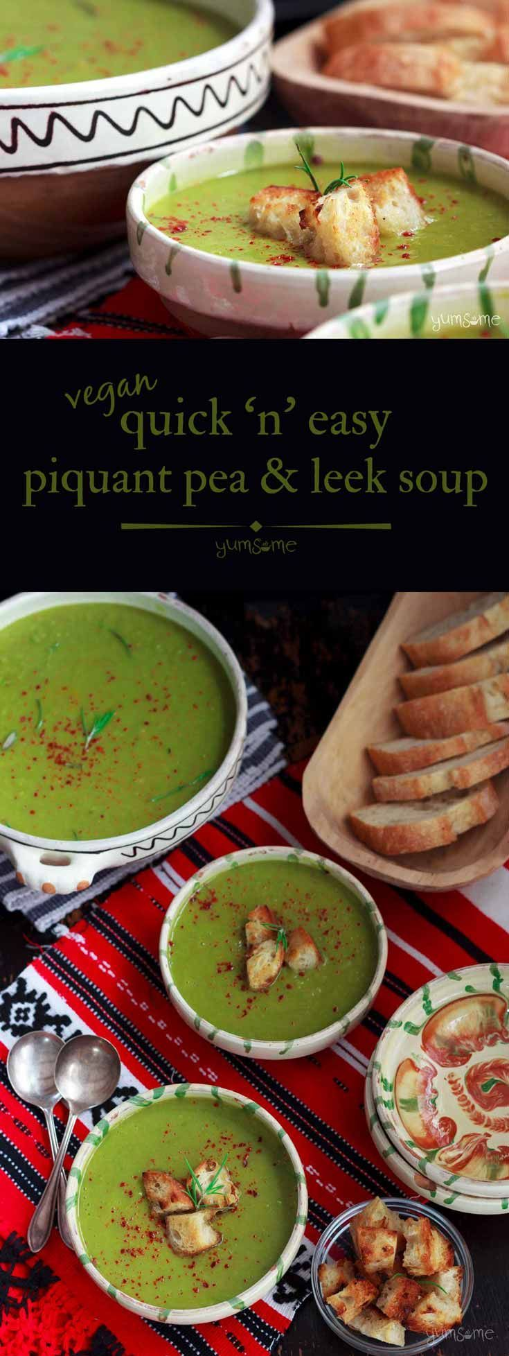 This quick n easy piquant pea & leek soup is made with just five ingredients, requires no fancy techniques, and is as delicious as it is beautiful to look at! | yumsome.com via @yums0me