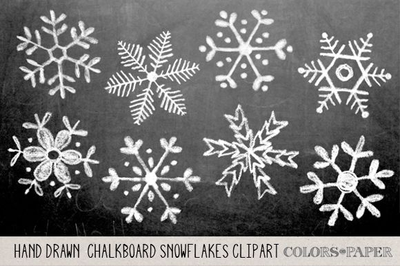 Hand Drawn Chalky Snowflake Clipart by Colors on Paper on @creativemarket