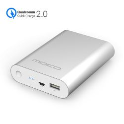 [Qualcomm Certified] MoKo Quick Charge 2.0 10400mAh Power Bank, Aluminum Portable Battery Fast Charger for iPhone 6s / 6s Plus / iPad Mini 4 / iPad Pro, Google Nexus 6, Samsung S6 and More