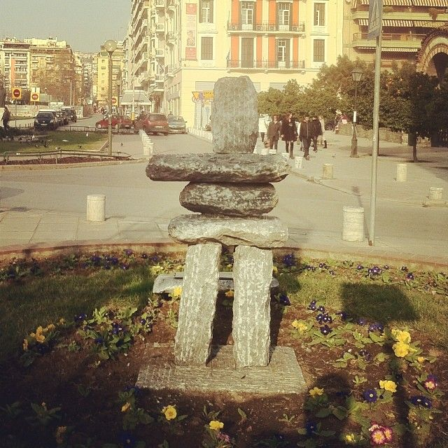 An inukshuk in Thessaloniki. It was recently set to celebrate the sisterhood between the city and Canadian Ottawa. (Walking Thessaloniki - Route 03, St Sofia)