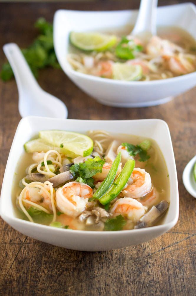 Spicy Shrimp Pho recipe: Use traditional rice noodles to make this gluten free