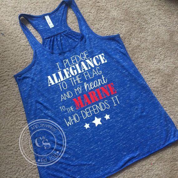 I pledge allegiance Flowy Racerback Tank USMC, Army, Navy, Air Force, Coast Guard