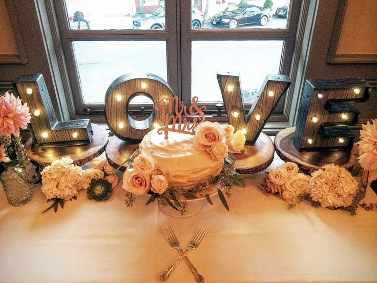 Lighted LOVE letters at a wedding party! See more party planning ideas at CatchMyParty.com!