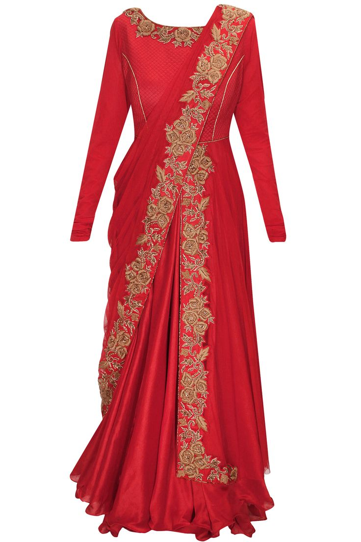 Brick red dabka and thread embroidered draped anarkali set available only at Pernia's Pop-Up Shop.