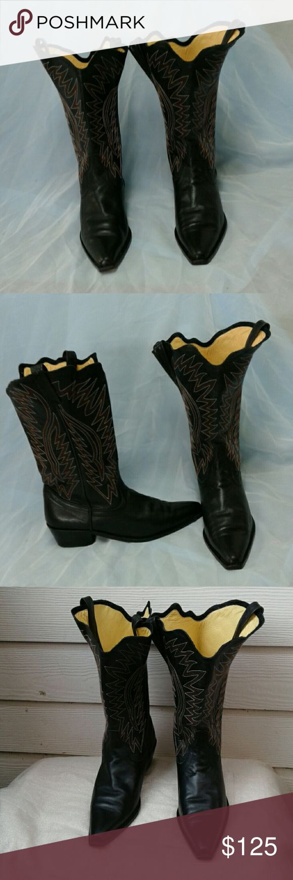"""UNDERCOVER CO., LTD by JUN TAKAHASHI COWGIRL BOOTS THESE """"RARE"""" UNDERCOVER., LTD, COWGIRL BOOTS  by JUN  TAKAHASHI SPORT A UNIQUE SCALLOPED SHAFT,  DETAILED EMBROIDERED MOTIF,  ALL LEATHER SOLE, LINING AND UPPER, UNDERCOVER CO., LTD JUN TAKAHASHI  Shoes Heeled Boots"""