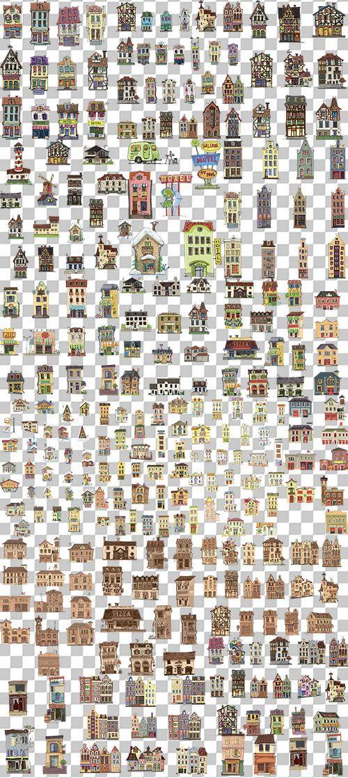 Клипарт для Фотошопа - Рисованные дома, здания, постройки на прозрачном фоне