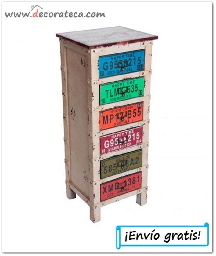 """Cajonera de madera industrial """"Virginia"""". Muebles auxiliares decoración industrial; colección matrículas americanas - WWW.DECORATECA.COM"""