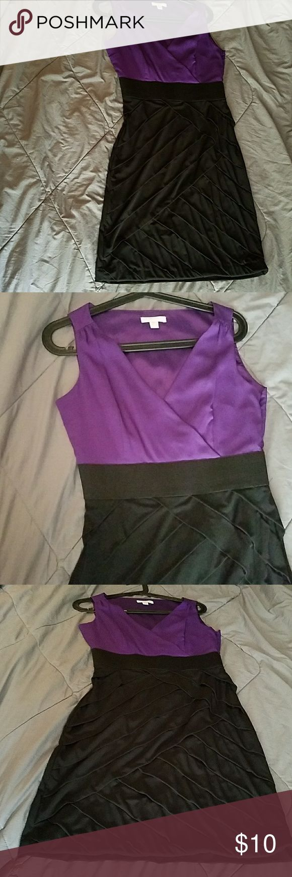 V-neck purple and black cocktail dress Worn once. Great for a night out with the ladies! New York & Company Dresses Midi