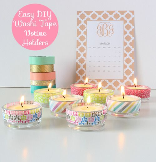 This is a simple project to add some color or sparkle to any party or room décor. All you need is washi tape and glass votive holders (mine hold tea lights). Simply wrap a piece of tape around the outside of the holder. That's it!  ~ http://merrybrides.tumblr.com/post/46838484683/diy-easy-washi-tape-votive-holders
