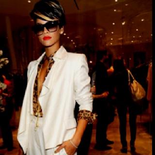 Print. White. Suit. Rihanna.