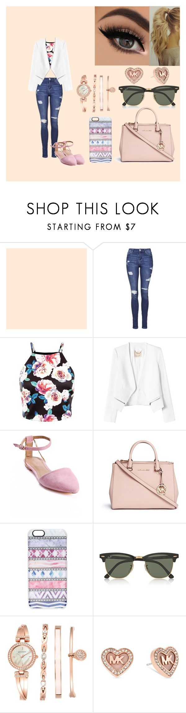 yeah little classy, but w.e by veeruska-1 on Polyvore featuring Rebecca Taylor, Topshop, Sergio Bari, Michael Kors, Anne Klein, Casetify, Ray-Ban, women's clothing, women's fashion and women