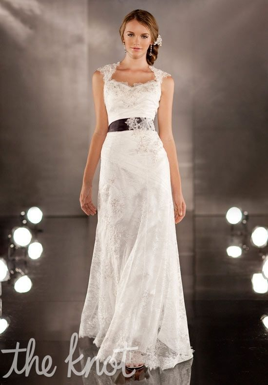 My favorite so far!    Gown features keyhole neckline, detachable lace overlay, and sash.