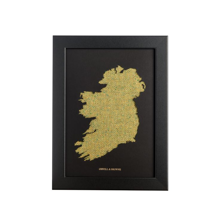 """Lime Tree"" - Map of #Ireland with luxurious Donegal #tweed underlay. Designed and handmade in Ireland."
