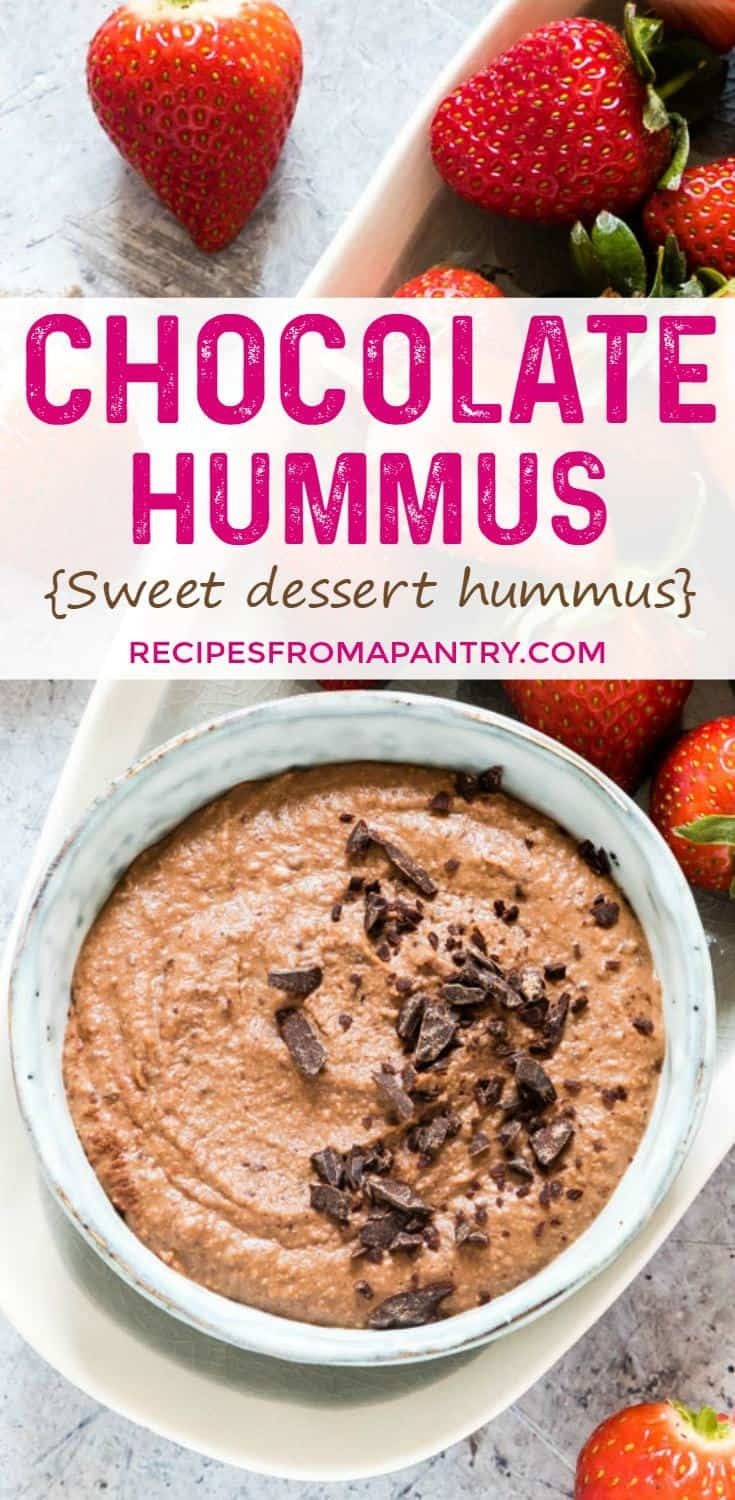 You will LOVE this dreamy Chocolate Hummus! It's a sweet hummus recipe and dessert hummus recipe that is divine. Perfect for Easter dessert, Valentine's Day dessert or just an anytime dessert. #hummus #chocolatehummus #hummusrecipe #desserthummus #sweethummus via @recipespantry