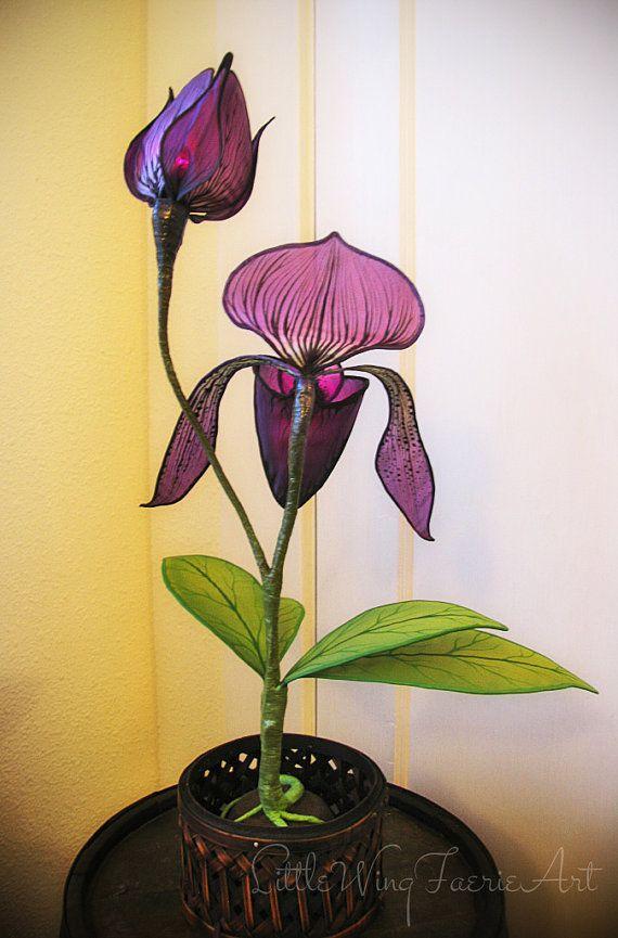 Lady Slipper Orchidee Seide Skulptur Lampe