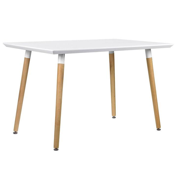 En.casa ® Esstisch 120x80cm Weiß Matt Eiche Küchentisch Esszimmer Tisch  Retro