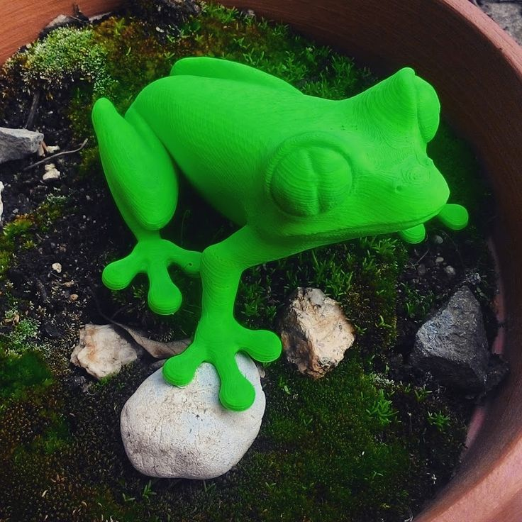 Hotová žába se konečně dostala na zahradu :-) / The finished frog finally got to the garden :-)