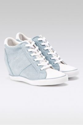 Adidasi Calvin Klein dama cu platforma din piele perforata bleu