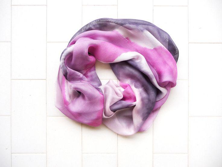 silk scarf handpainted 46cm x 198cm