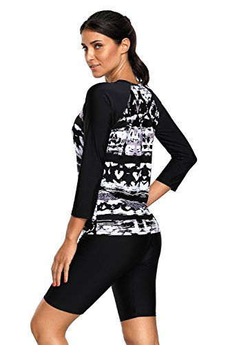 a23873e1d3 Womens Printed Long Sleeve Rashguard Top and Capri Pants Two Piece Swimsuit  Set L Buy New