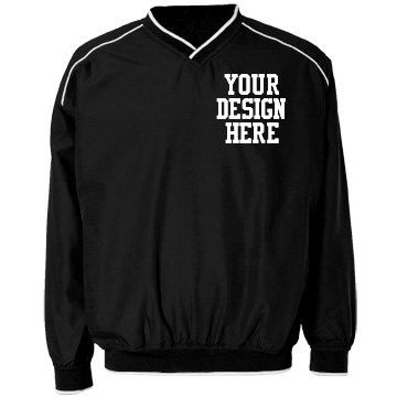 Custom Badger Sport Piped Windshirt | Easily customize shirt type and color. Add mascot and school name. Change text, images, fonts and imprint colors to suit your team.  Add athlete's name and number to back.