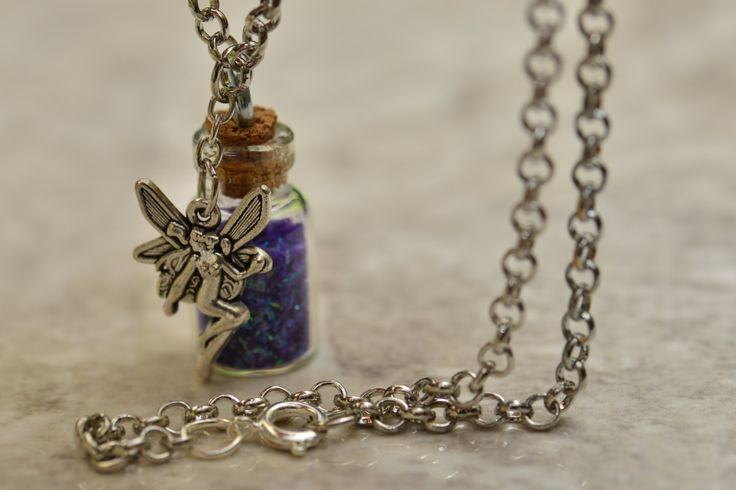 Pixie Dust Bottle Necklace, Tinkerbell Pixie Dust, Purple Pixie Dust, Cute Fairy Necklace, Peter Pan Flying Dust, A-00009 by FootprintsOnVenus on Etsy