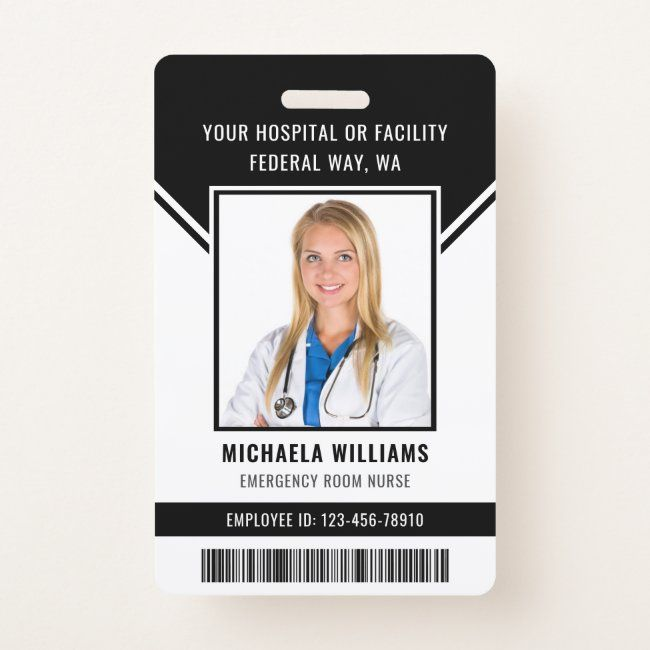 Essential Employee Barcode Photo Security Id Badge Zazzle Com In 2021 Identity Card Design Employee Id Card Emergency Room Nurse