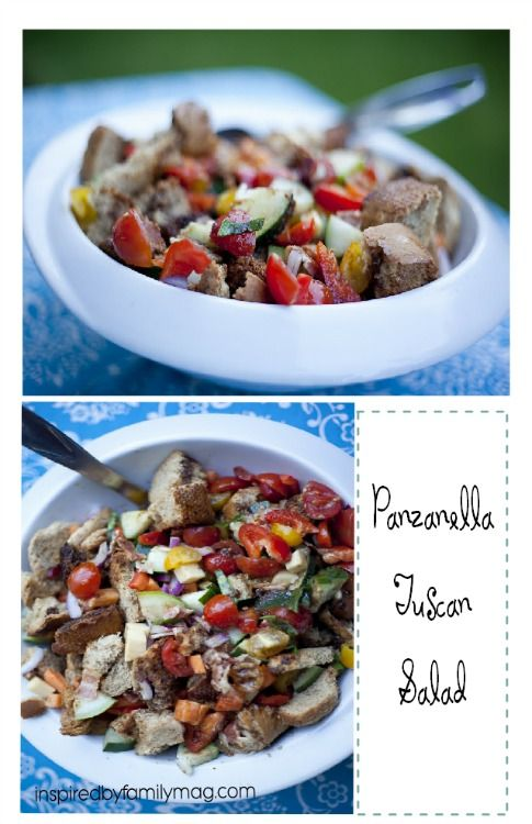 Panzanella Tuscan Salad - The perfect summer salad.  Easy to throw together and packed with veggies!