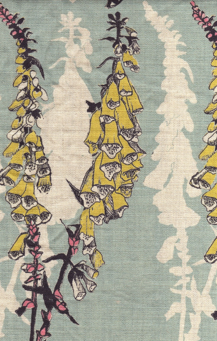 Foxglove fabric by Louise Body via Paper Room