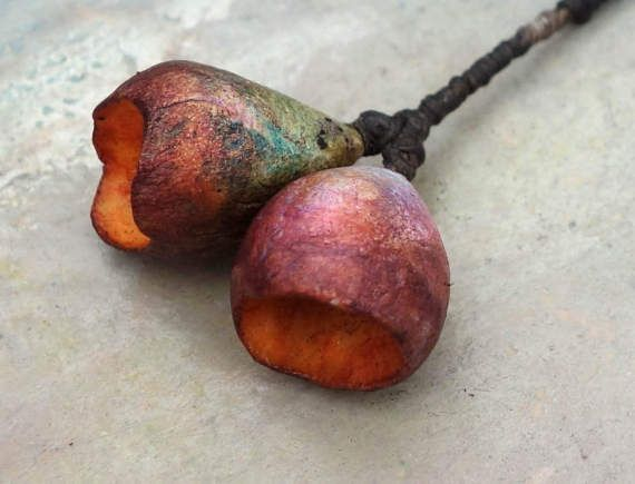 rich greenhouse  pod beads by greybirdstudio on Etsy
