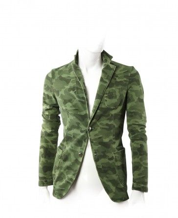 #FRADI - GIACCA KENT_K Unlined jacket in stretch cotton jersey printed camouflage