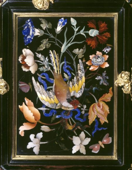 Detail of a pietra dura casket at Charlecote Park, Warwickshire, England. The lapis stone (blue) is extraordinary!