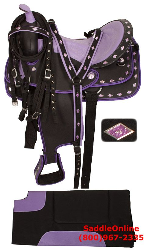Purple Ostrich Synthetic Western Horse Saddle Tack 14 16