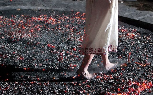 The Anastenaria (Bulgarian Нестинарство, Greek Αναστενάρια) is a traditional fire-walking ritual, in which people walk on glowing coals without being burned.