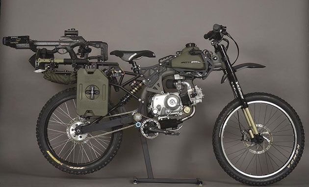 Perfect for the zombie apocalypse -- The Survival Bike: Black Ops Edition has a compound crossbow, fuel storage, shovel, tomahawk, harpoon, blade saw, climbing gear, lights and a smattering of tools and knives