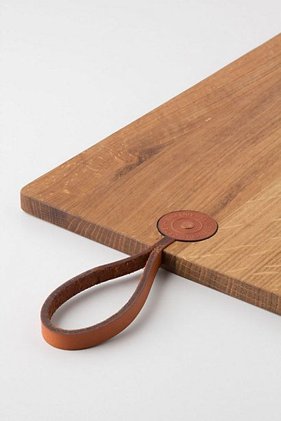 chopping board leather inlay