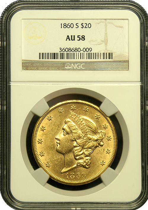 """This is without question a Double Eagle struck using California Gold Rush gold—bright yellow and flashy, lustrous surfaces are apparent and a few minor contact marks are noted on the obverse. Struck the year prior to our nations Civil War, it is rarely encountered in such a high grade. This is a Type 1 example, without the motto, """"In God We Trust"""", which was issued from 1850-1866.  http://www.austincoins.com/offer/1860-S-$20-Liberty-Head-Gold-Coin-AU-58-NGC/16317"""